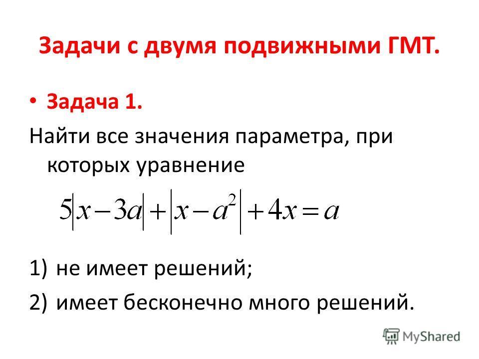 Задачи с двумя подвижными ГМТ. Задача 1. Найти все значения параметра, при которых уравнение 1)не имеет решений; 2)имеет бесконечно много решений.