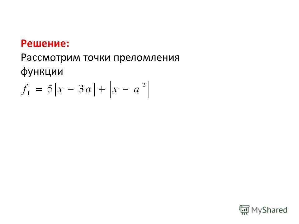 Рассмотрим точки преломления функции