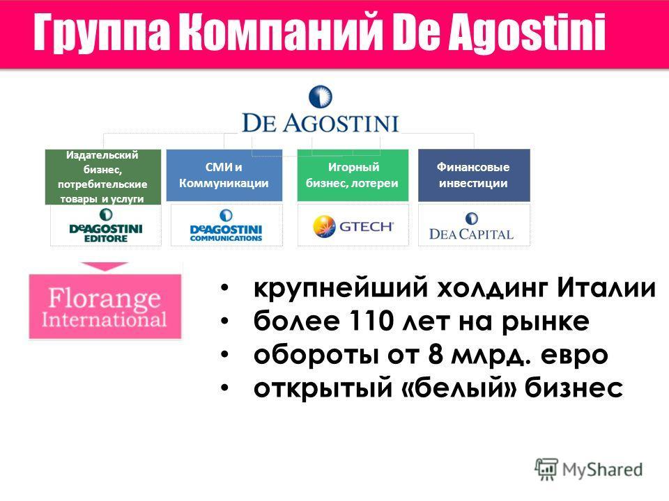 Группа Компаний De Agostini Игорный бизнес, лотереи Издательский бизнес, потребительские товары и услуги СМИ и Коммуникации Финансовые инвестиции крупнейший холдинг Италии более 110 лет на рынке обороты от 8 млрд. евро открытый «белый» бизнес