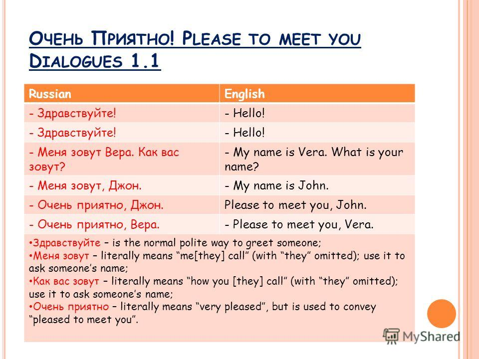 О ЧЕНЬ П РИЯТНО ! P LEASE TO MEET YOU D IALOGUES 1.1 RussianEnglish - Здравствуйте!- Hello! - Здравствуйте!- Hello! - Меня зовут Вера. Как вас зовут? - My name is Vera. What is your name? - Меня зовут, Джон.- My name is John. - Очень приятно, Джон.Pl