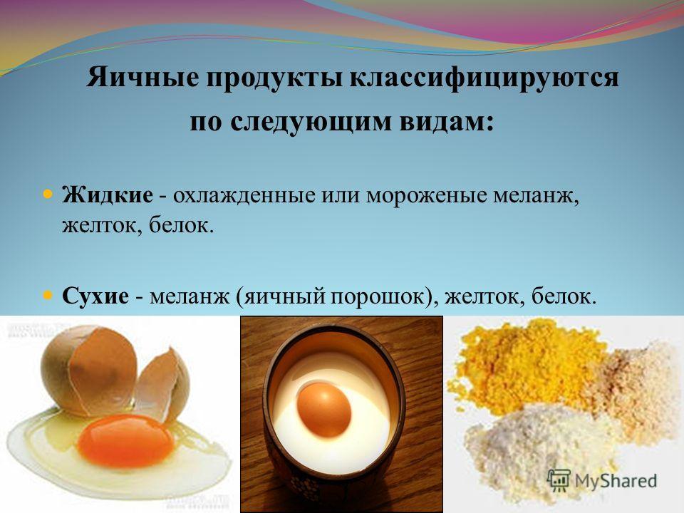 Яичные продукты классифицируются по следующим видам: Жидкие - охлажденные или мороженые меланж, желток, белок. Сухие - меланж (яичный порошок), желток, белок.