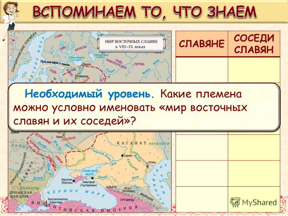 СЛАВЯНЕ СОСЕДИ СЛАВЯН Необходимый уровень. Какие племена можно условно именовать «мир восточных славян и их соседей»?