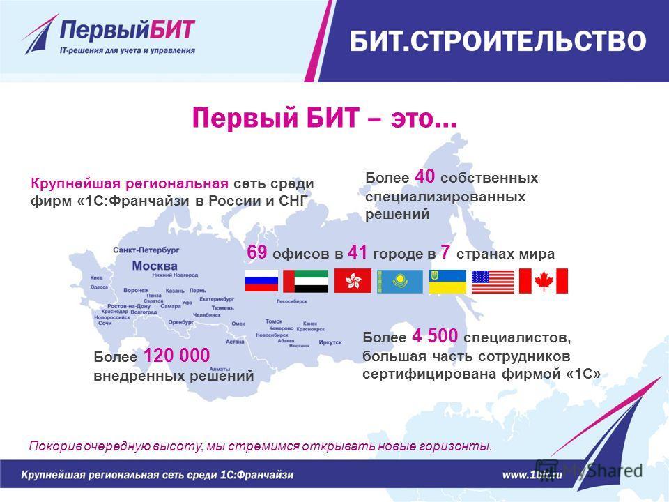 Крупнейшая региональная сеть среди фирм «1С:Франчайзи в России и СНГ 69 офисов в 41 городе в 7 странах мира Более 4 500 специалистов, большая часть сотрудников сертифицирована фирмой «1С» Более 120 000 внедренных решений Покорив очередную высоту, мы