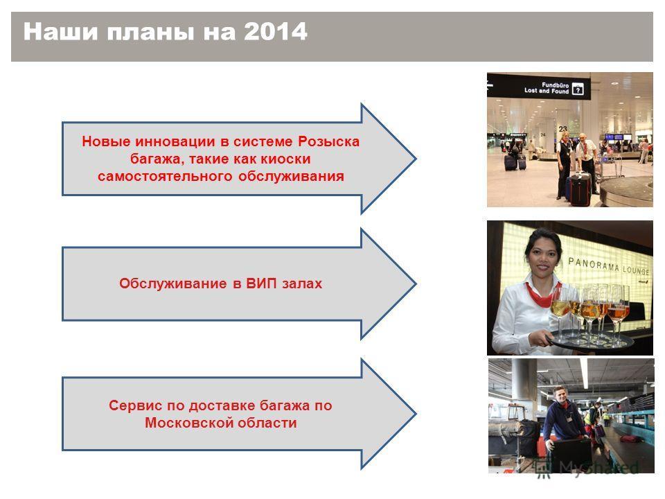 Наши планы на 2014 Новые инновации в системе Розыска багажа, такие как киоски самостоятельного обслуживания Обслуживание в ВИП залах Сервис по доставке багажа по Московской области