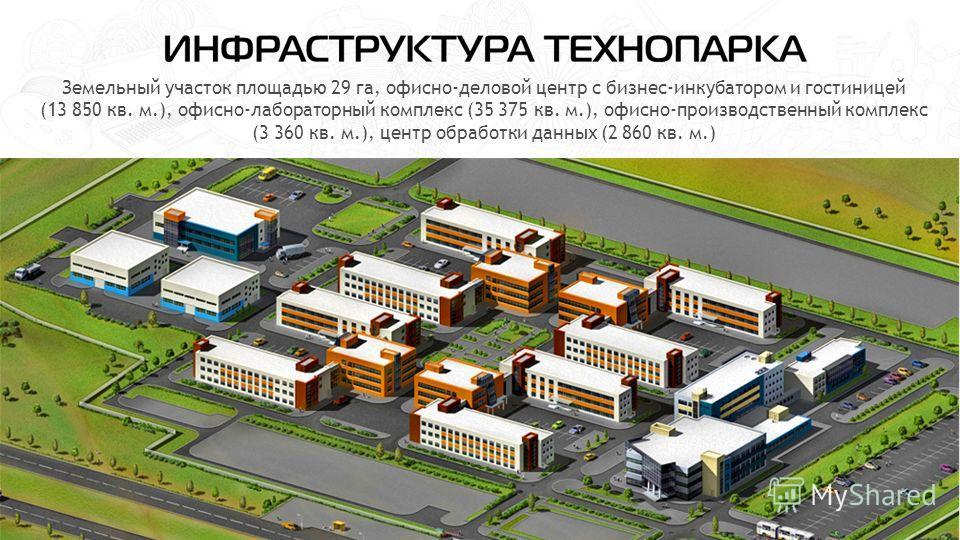 Земельный участок площадью 29 га, офисно-деловой центр с бизнес-инкубатором и гостиницей (13 850 кв. м.), офисно-лабораторный комплекс (35 375 кв. м.), офисно-производственный комплекс (3 360 кв. м.), центр обработки данных (2 860 кв. м.)