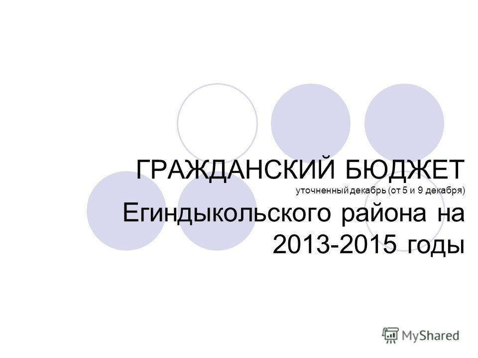 ГРАЖДАНСКИЙ БЮДЖЕТ уточненный декабрь (от 5 и 9 декабря) Егиндыкольского района на 2013-2015 годы