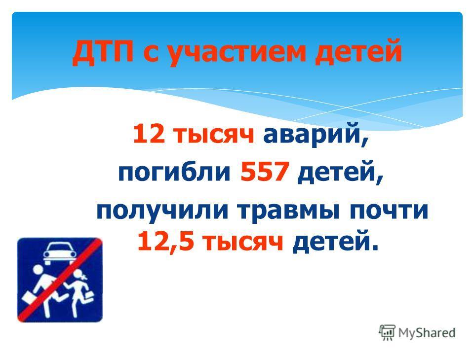 12 тысяч аварий, погибли 557 детей, получили травмы почти 12,5 тысяч детей. ДТП с участием детей