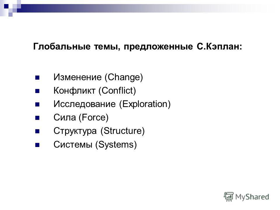 Глобальные темы, предложенные С.Кэплан: Изменение (Change) Конфликт (Conflict) Исследование (Exploration) Сила (Force) Структура (Structure) Системы (Systems)