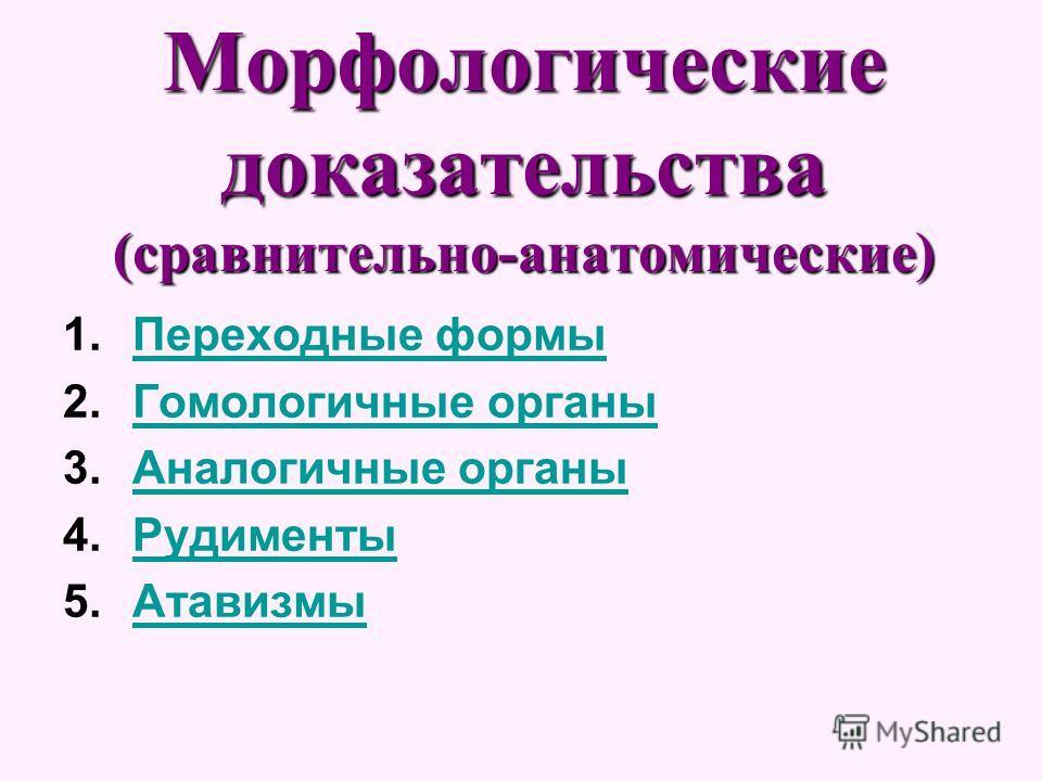 Морфологические доказательства (сравнительно-анатомические) 1.Переходные формыПереходные формы 2.Гомологичные органыГомологичные органы 3.Аналогичные органыАналогичные органы 4.РудиментыРудименты 5.АтавизмыАтавизмы
