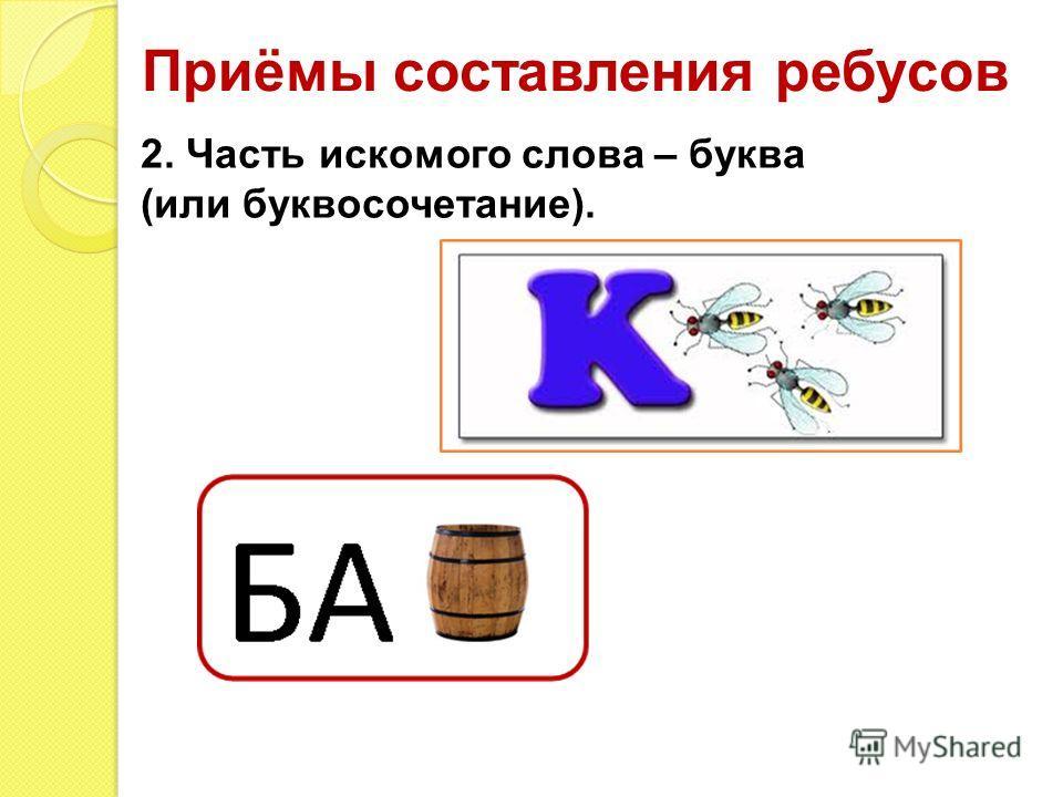 Приёмы составления ребусов 2. Часть искомого слова – буква (или буквосочетание).