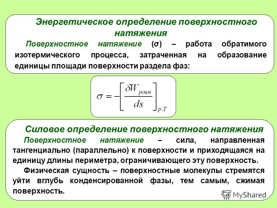 3 Энергетическое определение поверхностного натяжения Поверхностное натяжение (σ) – работа обратимого изотермического процесса, затраченная на образование единицы площади поверхности раздела фаз: Силовое определение поверхностного натяжения Поверхнос