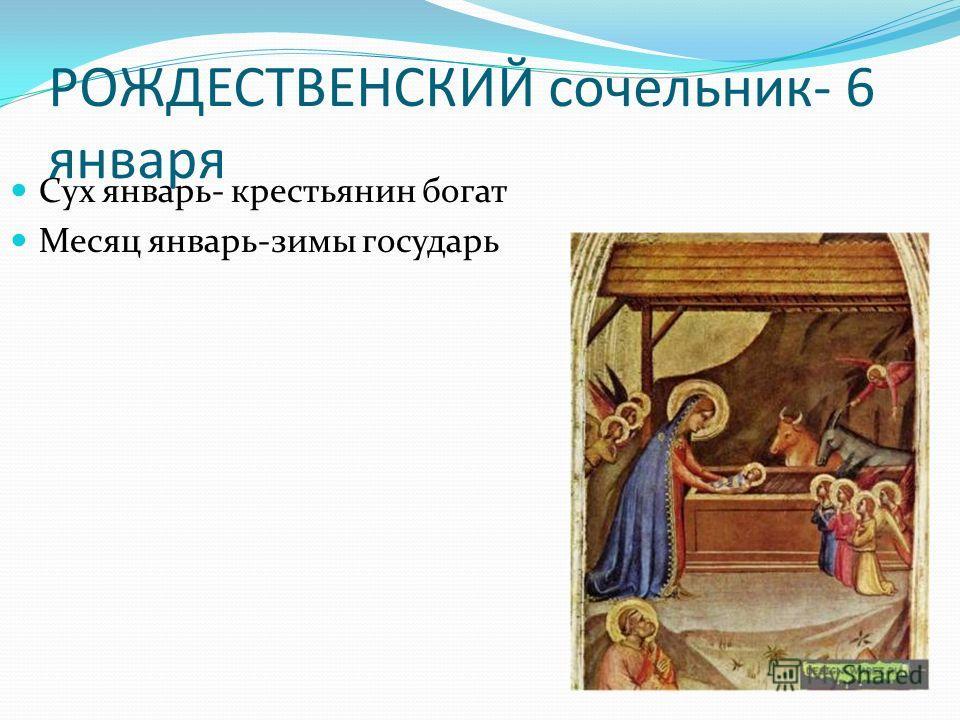 РОЖДЕСТВЕНСКИЙ сочельник- 6 января Сух январь- крестьянин богат Месяц январь-зимы государь