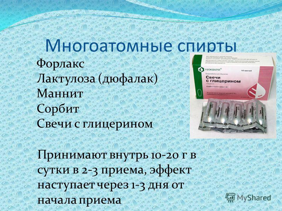 Многоатомные спирты Форлакс Лактулоза (дюфалак) Маннит Сорбит Свечи с глицерином Принимают внутрь 10-20 г в сутки в 2-3 приема, эффект наступает через 1-3 дня от начала приема