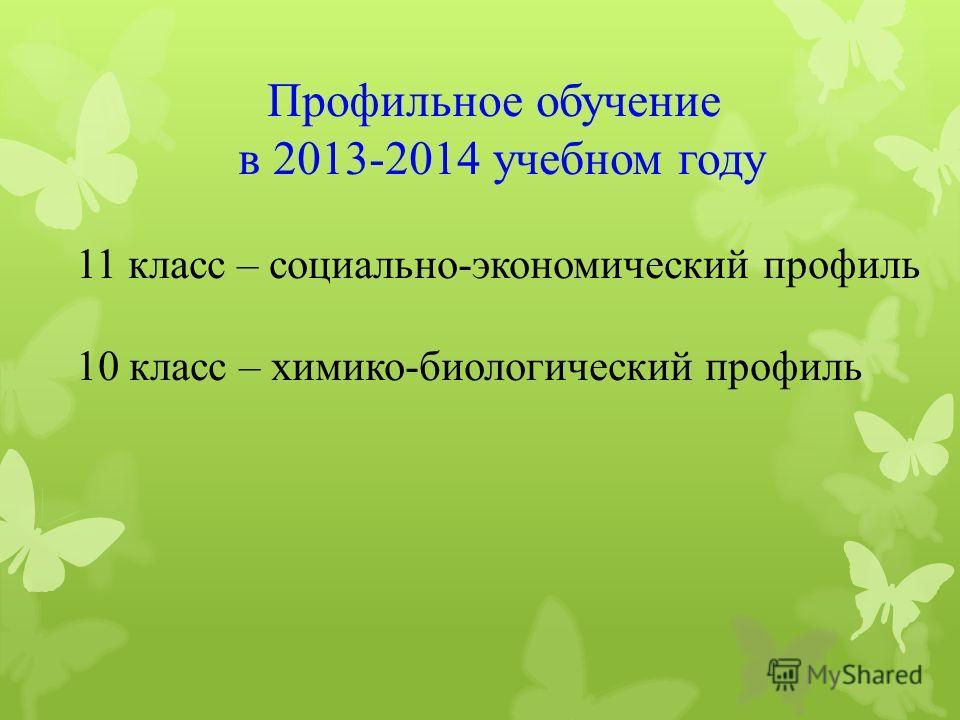 Профильное обучение в 2013-2014 учебном году 11 класс – социально-экономический профиль 10 класс – химико-биологический профиль