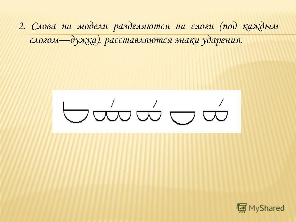 2. Слова на модели разделяются на слоги (под каждым слогомдужка), расставляются знаки ударения.