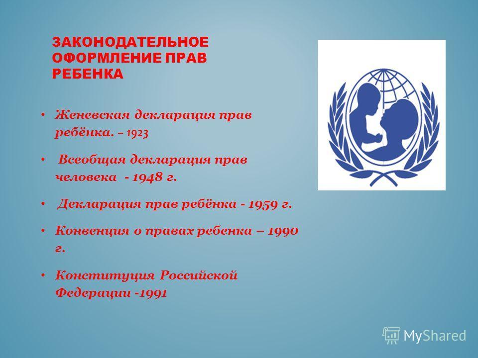 ЗАКОНОДАТЕЛЬНОЕ ОФОРМЛЕНИЕ ПРАВ РЕБЕНКА Женевская декларация прав ребёнка. – 1923 Всеобщая декларация прав человека - 1948 г. Декларация прав ребёнка - 1959 г. Конвенция о правах ребенка – 1990 г. Конституция Российской Федерации -1991