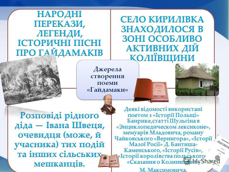 Максим Залізняк (близько 1740 - після 1768) - керівник гайдамацького руху Іван Гонта (? - 1768) - керівник гайдамацького руху Що повязує цих людей з Гайдамаччиною?