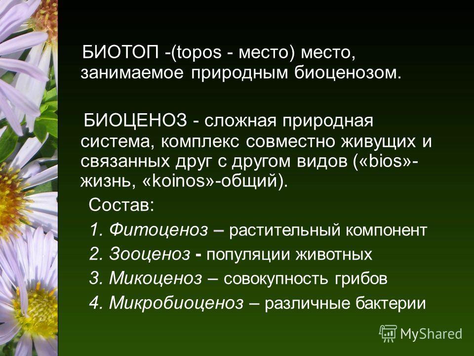 БИОТОП -(topos - место) место, занимаемое природным биоценозом. БИОЦЕНОЗ - сложная природная система, комплекс совместно живущих и связанных друг с другом видов («bios»- жизнь, «koinos»-общий). Состав: 1. Фитоценоз – растительный компонент 2. Зооцено