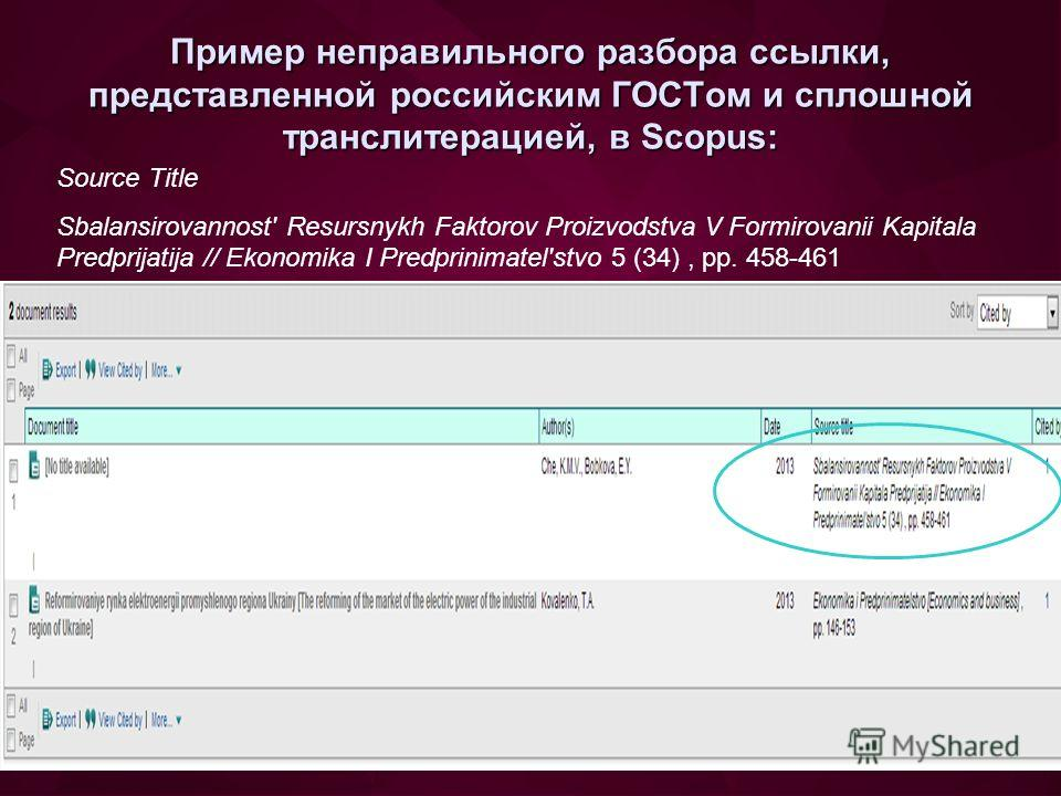Пример неправильного разбора ссылки, представленной российским ГОСТом и сплошной транслитерацией, в Scopus: Source Title Sbalansirovannost' Resursnykh Faktorov Proizvodstva V Formirovanii Kapitala Predprijatija // Ekonomika I Predprinimatel'stvo 5 (3