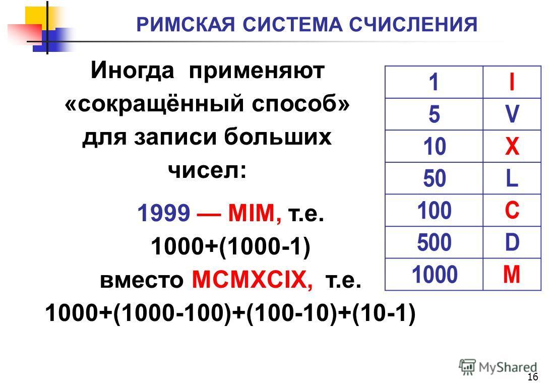 РИМСКАЯ СИСТЕМА СЧИСЛЕНИЯ 16 1999 MIM, т.е. 1000+(1000-1) вместо MCMXCIX, т.е. 1000+(1000-100)+(100-10)+(10-1) Иногда применяют «сокращённый способ» для записи больших чисел: