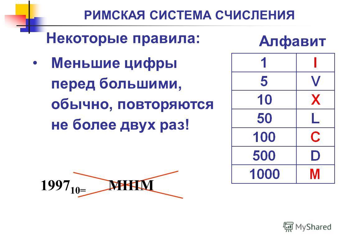 РИМСКАЯ СИСТЕМА СЧИСЛЕНИЯ Меньшие цифры перед большими, обычно, повторяются не более двух раз! Некоторые правила: Алфавит 1997 10= MIIIM