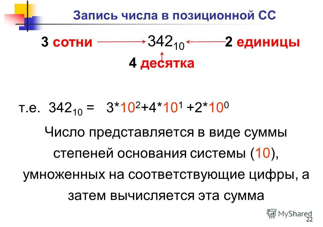 Запись числа в позиционной СС 342 10 т.е. 342 10 = 3*10 2 +4*10 1 +2*10 0 Число представляется в виде суммы степеней основания системы (10), умноженных на соответствующие цифры, а затем вычисляется эта сумма 22 4 десятка 3 сотни 2 единицы