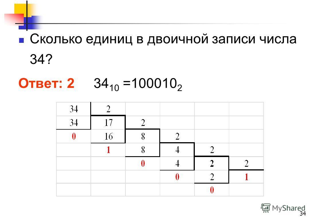 Сколько единиц в двоичной записи числа 34? Ответ: 2 34 10 =100010 2 34