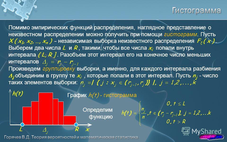 Определим функцию График h(t) - гистограмма h(t) xLR Помимо эмпирических функций распределения, наглядное представление о неизвестном распределении можно получить при помощи гистограмм. Пусть X ( x 1, x 2, …, x n ) - независимая выборка неизвестного