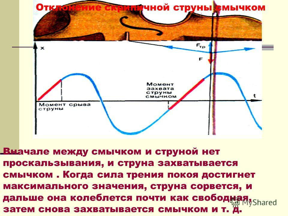 Отклонение скрипичной струны смычком Вначале между смычком и струной нет проскальзывания, и струна захватывается смычком. Когда сила трения покоя достигнет максимального значения, струна сорвется, и дальше она колеблется почти как свободная, затем сн