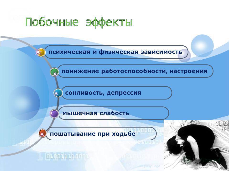 www.themegallery.comCompany Logo пошатывание при ходьбе мышечная слабость сонливость, депрессия понижение работоспособности, настроения психическая и физическая зависимость