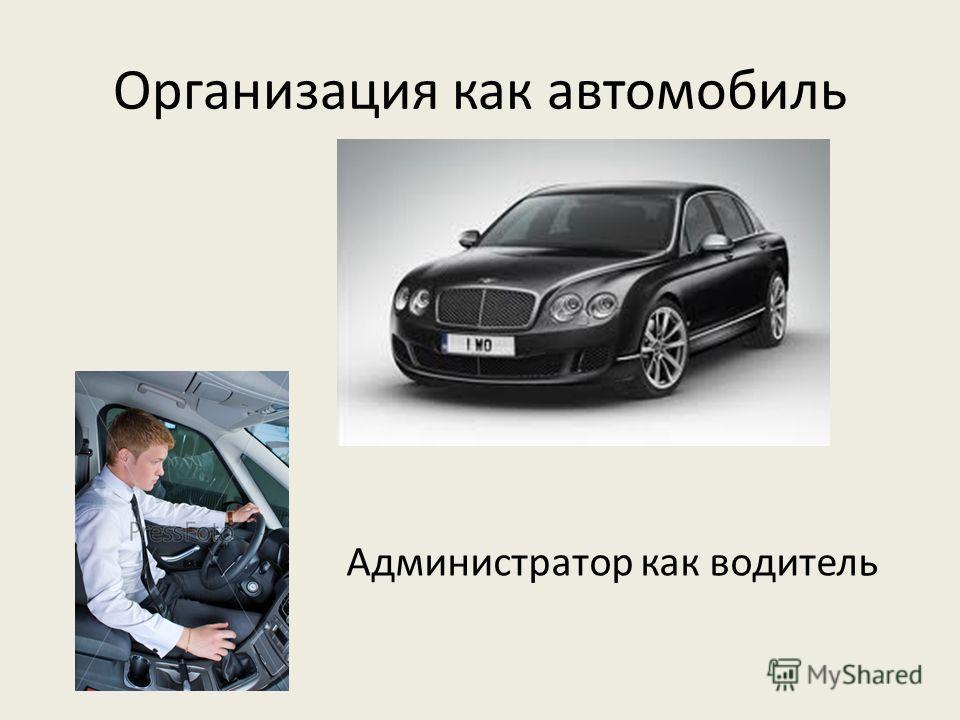 Организация как автомобиль Администратор как водитель