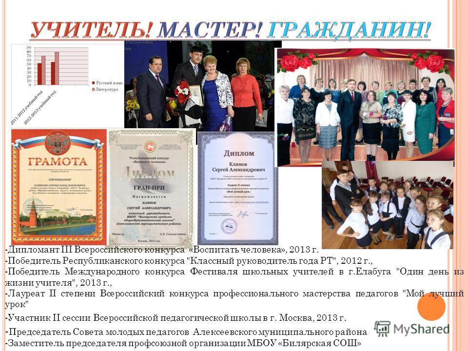 -Дипломант III Всероссийского конкурса «Воспитать человека», 2013 г. -Победитель Республиканского конкурса