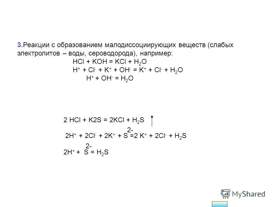 2.Реакции с образованием газообразных малорастворимых веществ, например: Na 2 CO 3 + H 2 SO 4 = Na 2 SO 4 + CO 2 + H 2 O 2Na + + CO 3 2- + 2H + + SO 4 2- = 2Na + + SO 4 2- + CO 2 + H 2 O CO 3 2- + 2H + = CO 2 + H 2 O (также и сульфиты) При действии н