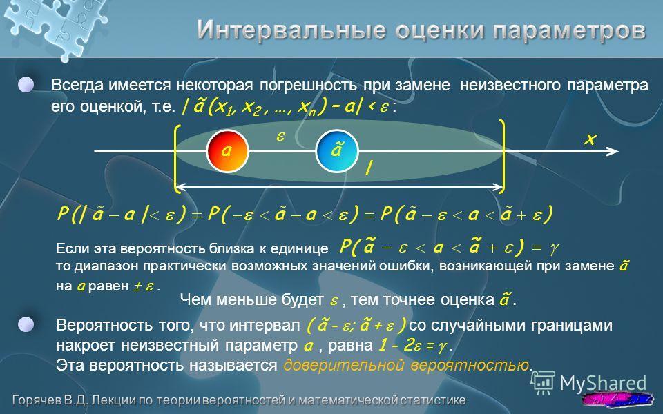 Всегда имеется некоторая погрешность при замене неизвестного параметра его оценкой, т.е. | ã (x 1, x 2, …, x n ) – a| < : ãa Если эта вероятность близка к единице то диапазон практически возможных значений ошибки, возникающей при замене ã на a равен.