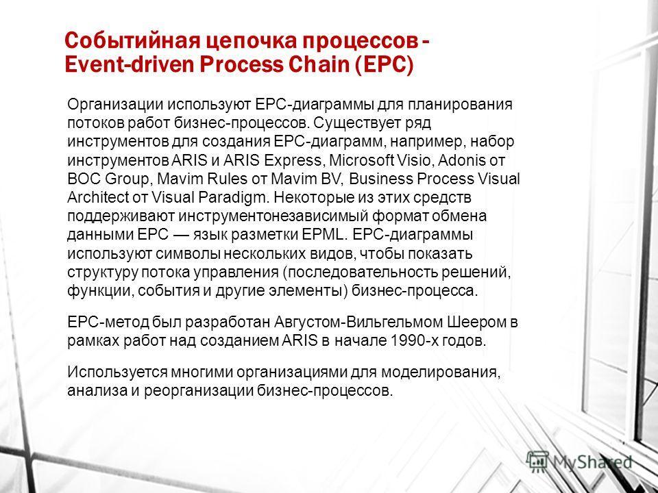 Событийная цепочка процессов - Event-driven Process Chain (EPC) Организации используют EPC-диаграммы для планирования потоков работ бизнес-процессов. Существует ряд инструментов для создания EPC-диаграмм, например, набор инструментов ARIS и ARIS Expr