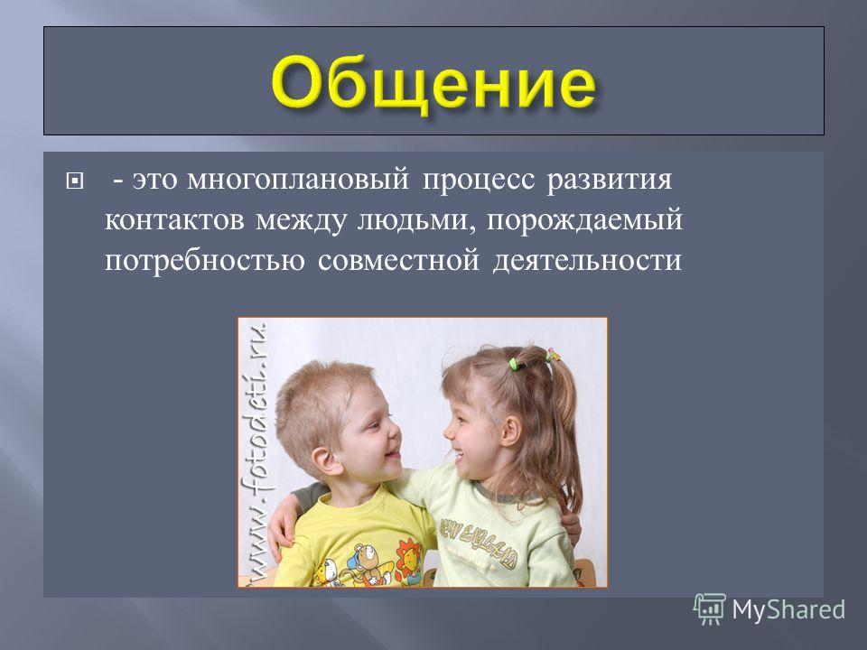 - это многоплановый процесс развития контактов между людьми, порождаемый потребностью совместной деятельности