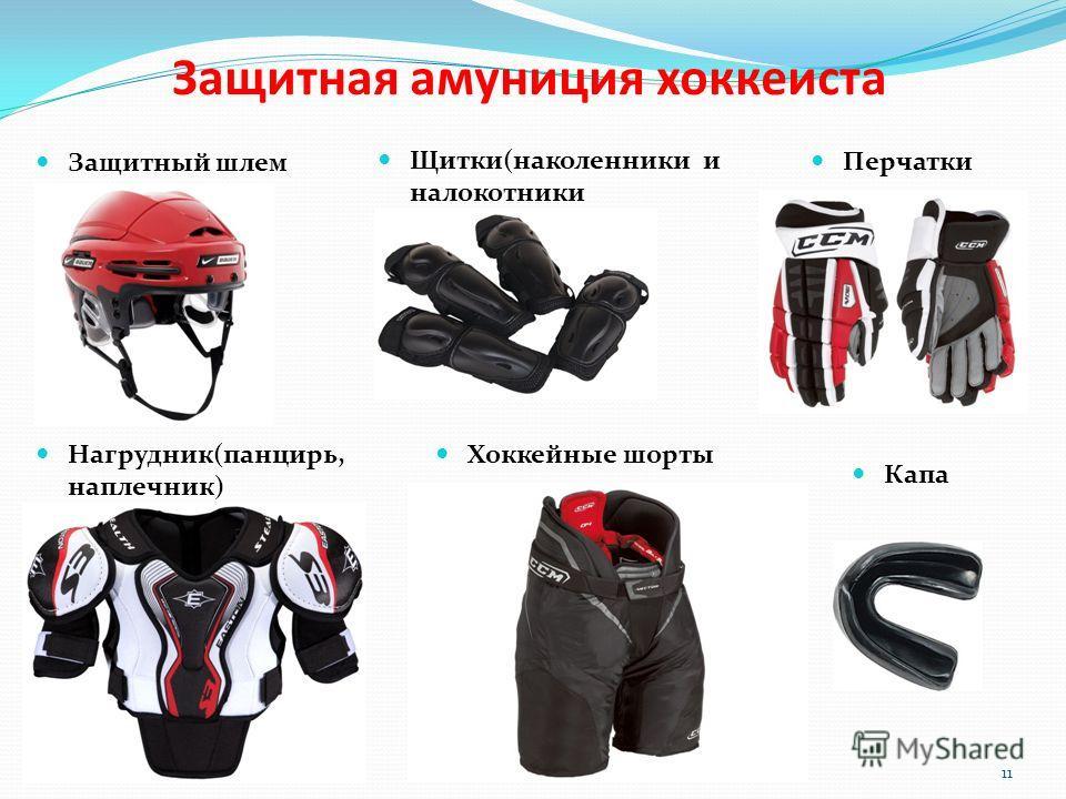 Защитная амуниция хоккеиста 11 Защитный шлем Щитки(наколенники и налокотники Нагрудник(панцирь, наплечник) Хоккейные шорты Перчатки Капа