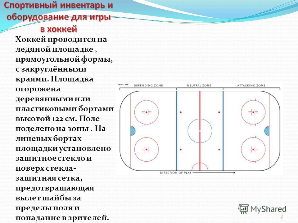 Хоккей проводится на ледяной площадке, прямоугольной формы, с закруглёнными краями. Площадка огорожена деревянными или пластиковыми бортами высотой 122 см. Поле поделено на зоны. На лицевых бортах площадки установлено защитное стекло и поверх стекла-