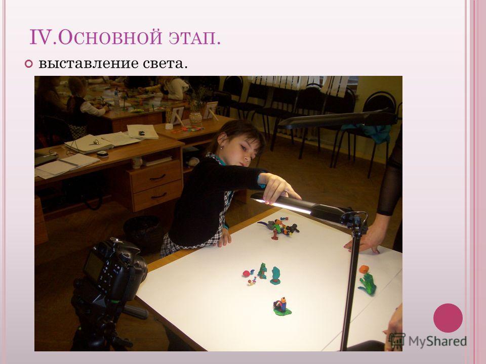 IV.О СНОВНОЙ ЭТАП. выставление света.