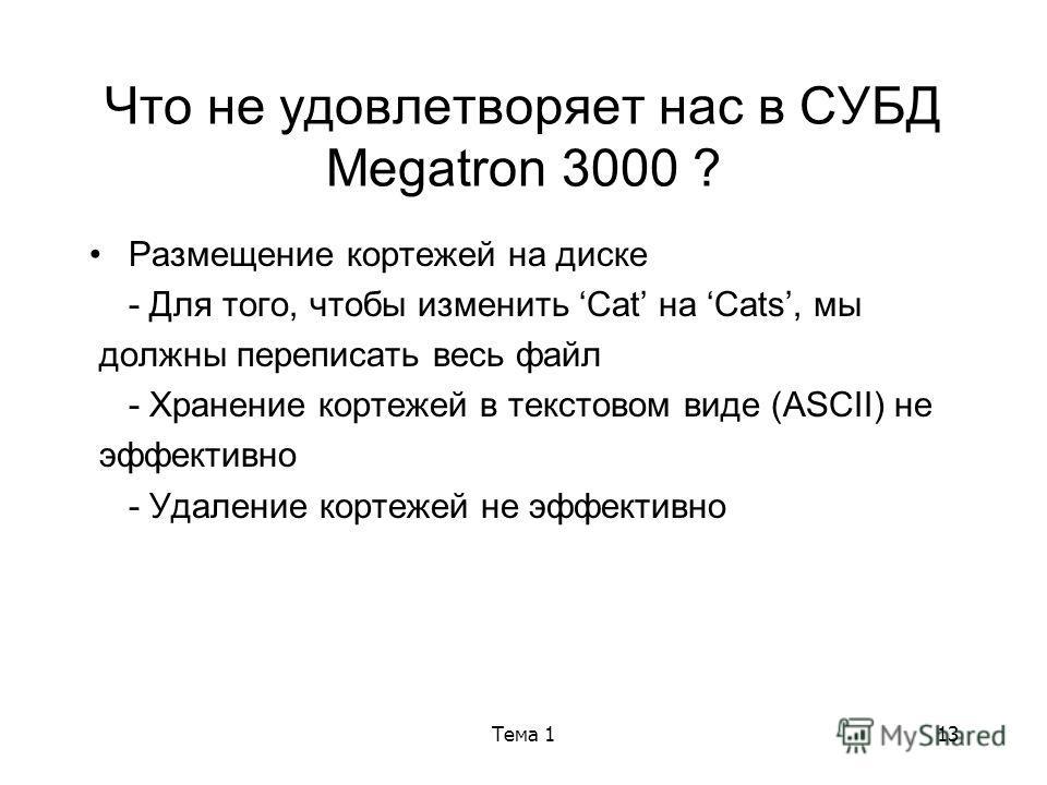 Тема 113 Что не удовлетворяет нас в СУБД Megatron 3000 ? Размещение кортежей на диске - Для того, чтобы изменить Cat на Cats, мы должны переписать весь файл - Хранение кортежей в текстовом виде (ASCII) не эффективно - Удаление кортежей не эффективно