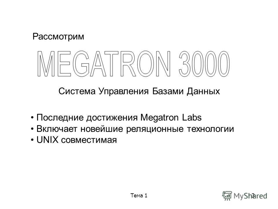 Тема 13 Рассмотрим Система Управления Базами Данных Последние достижения Megatron Labs Включает новейшие реляционные технологии UNIX совместимая