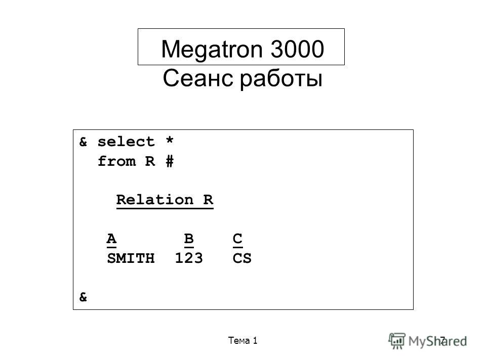 Тема 17 Megatron 3000 Сеанс работы & select * from R # Relation R A B C SMITH 123 CS &