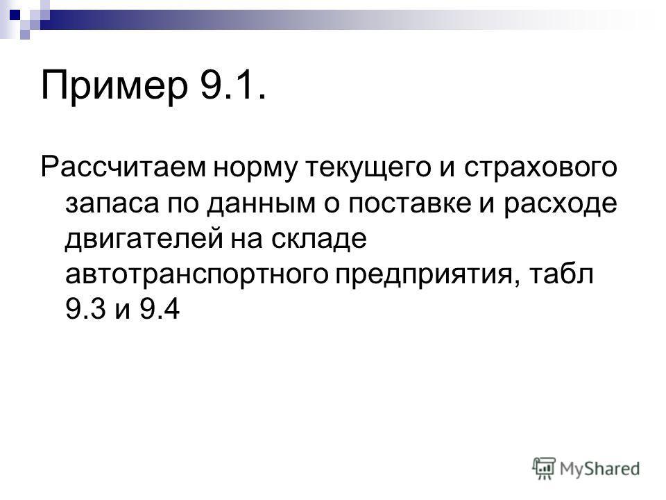 Пример 9.1. Рассчитаем норму текущего и страхового запаса по данным о поставке и расходе двигателей на складе автотранспортного предприятия, табл 9.3 и 9.4