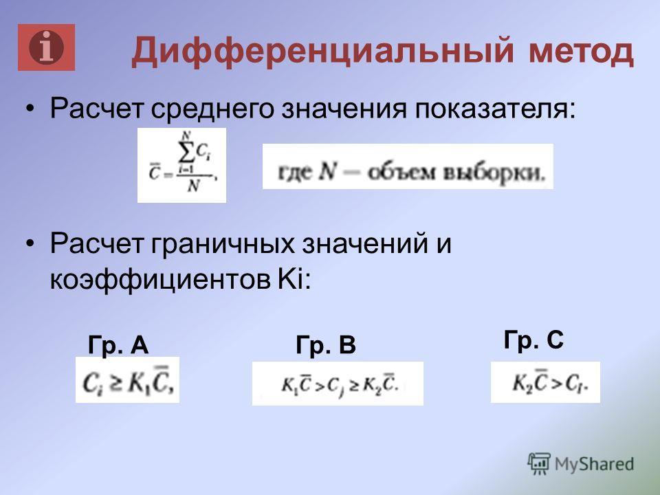 Дифференциальный метод Расчет среднего значения показателя: Расчет граничных значений и коэффициентов Ki: Гр. АГр. В Гр. С