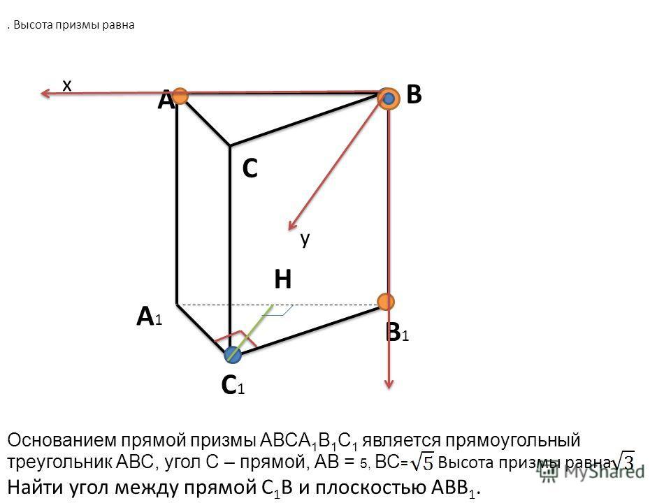 A B C A1A1 B1B1 C1C1 x y H Основанием прямой призмы АВСA 1 B 1 C 1 является прямоугольный треугольник АВС, угол С – прямой, АВ = 5, ВС =. Высота призмы равна Найти угол между прямой С 1 В и плоскостью АВВ 1.. Высота призмы равна