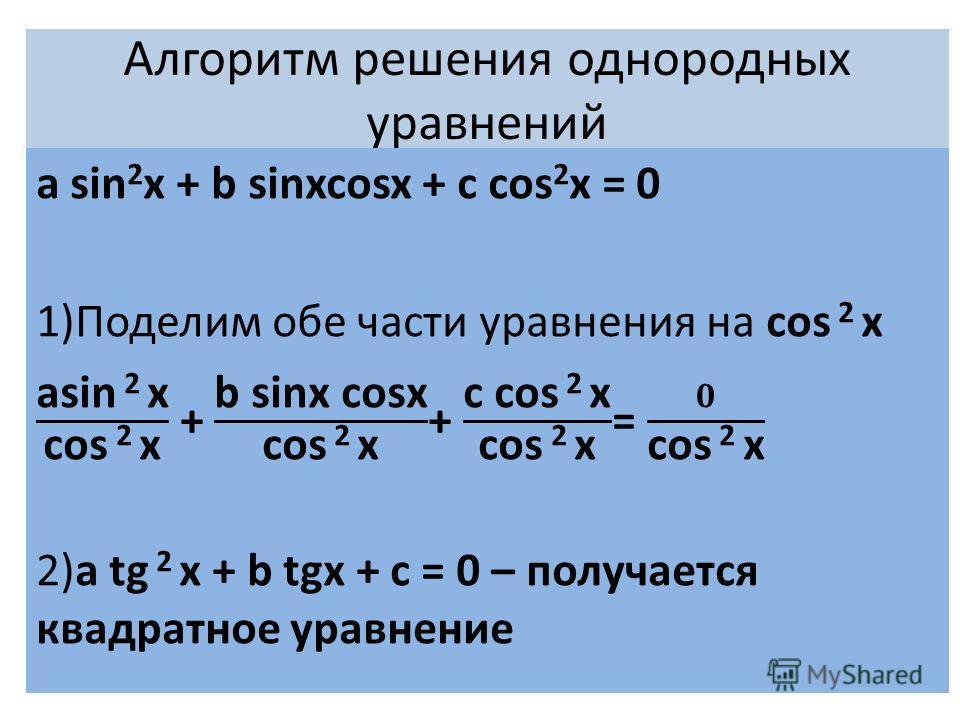 Алгоритм решения однородных уравнений