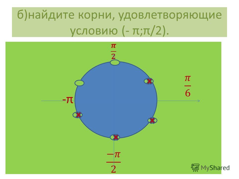 б)найдите корни, удовлетворяющие условию (- π;π/2). -π-π