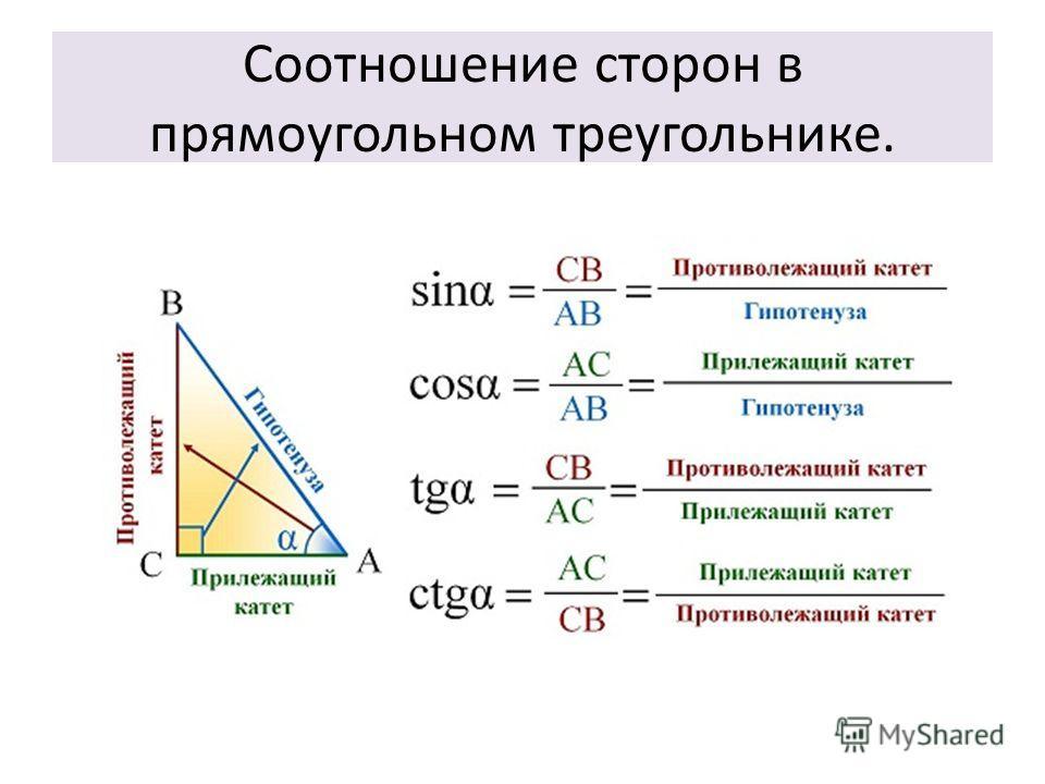 Соотношение сторон в прямоугольном треугольнике.
