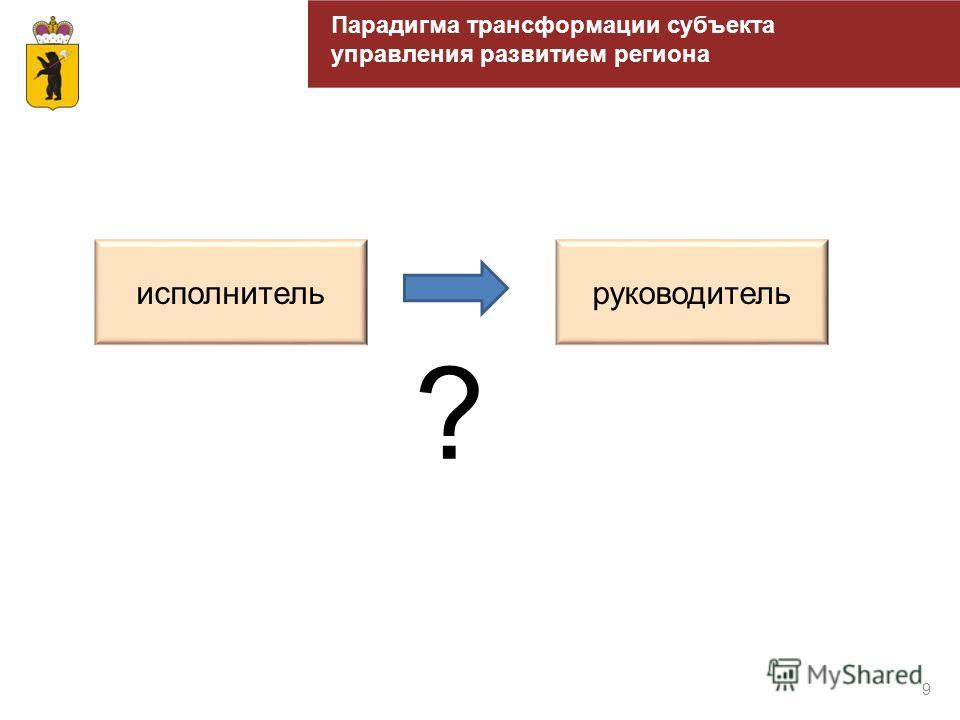 9 Парадигма трансформации субъекта управления развитием региона исполнительруководитель ?