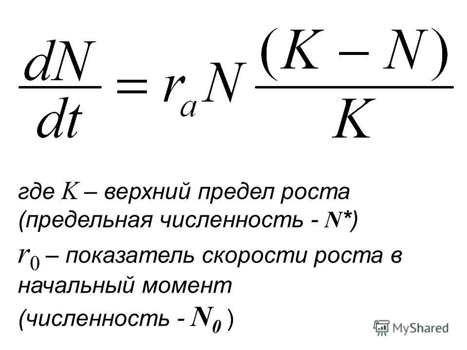 где K – верхний предел роста (предельная численность - N *) r 0 – показатель скорости роста в начальный момент (численность - N 0 )